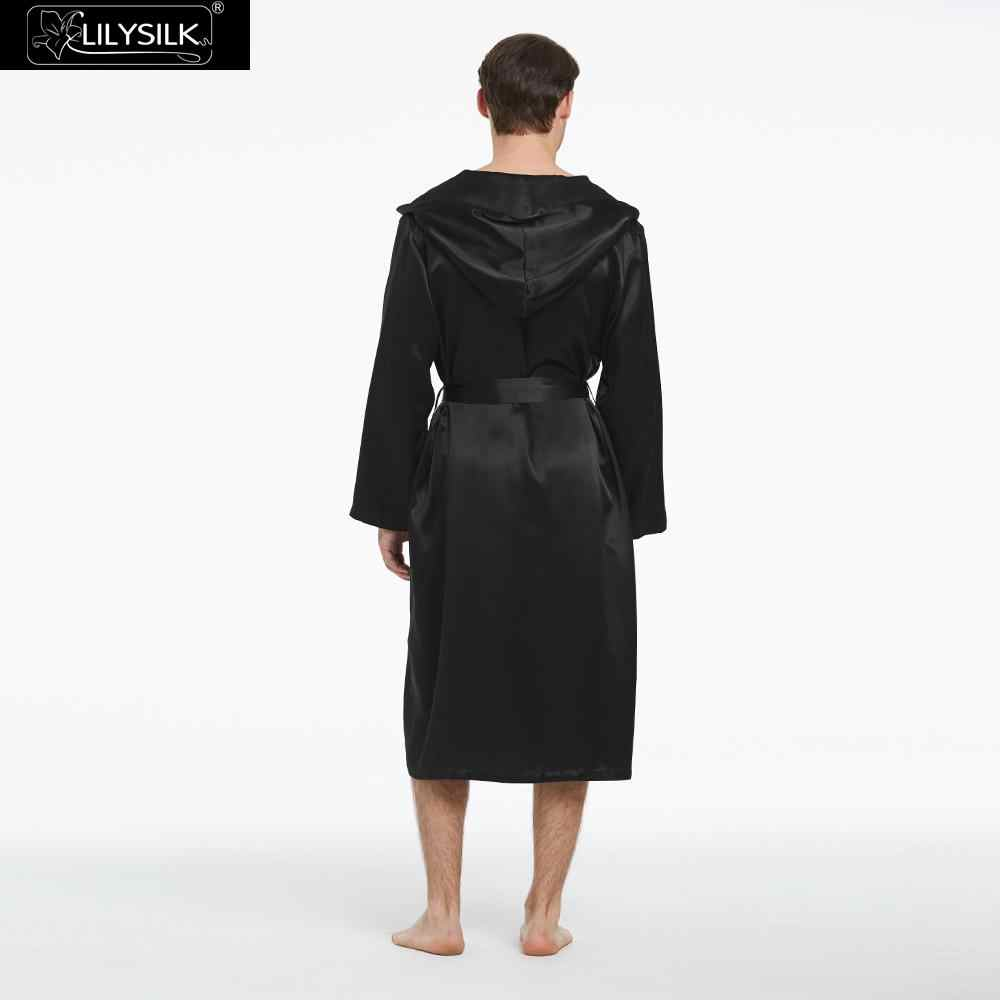 LilySilk ローブパジャマ男性純粋な 100 シルク 22 匁高級天然黒人男性の服のクリアランスセール送料無料