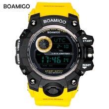 BOAMIGO العلامة التجارية UTC DST الوقت الساعات رفع إلى ويك مصباح ليد الرجال الرقمية الرياضة الساعات العسكرية 50 متر السباحة مطاط مقاوم للمياه الفرقة