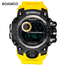 BOAMIGO brand UTC DST time watches raise to wake led light men digital sport military watches 50m swim waterproof rubber band