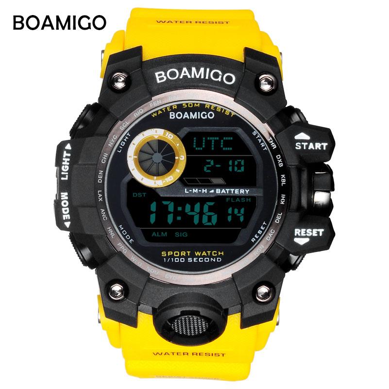 Saatler'ten Dijital Saatler'de BOAMIGO marka UTC DST zaman saatler yükseltme to uyandırma led ışık erkekler dijital spor askeri saatler 50 m yüzmek su geçirmez kauçuk bant title=