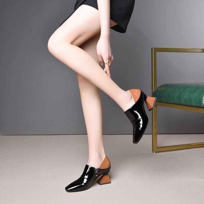 ZVQ รองเท้าผู้หญิงฤดูใบไม้ผลิใหม่แฟชั่นสีผสมสิทธิบัตรปั๊มหนังผู้หญิงนอกสูงแปลกสไตล์สแควร์ toe สุภาพสตรีรองเท้า-ใน รองเท้าส้นสูงสตรี จาก รองเท้า บน   2