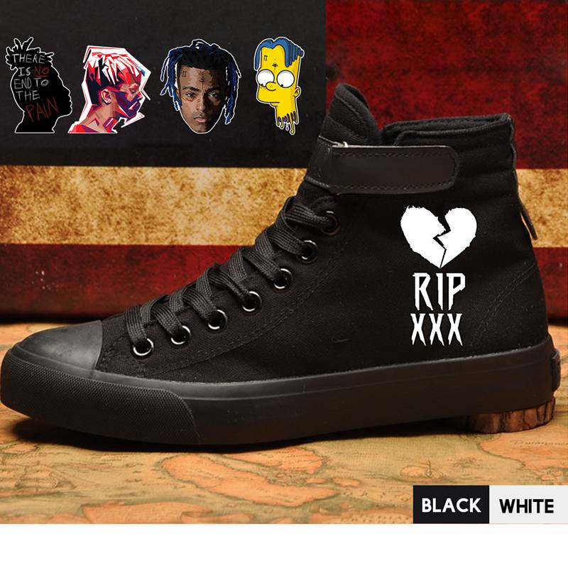 Singer Sing XXXTentacion High Heel Canvas Uppers Men White Sneakers 2019 VelcroShoelace Trendy Shoes Sneakers A194301