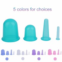 4pcs Set Family Body Massage Helper Anti Cellulite Silicone Vacuum Cupping Cups Neck Face Back Massage