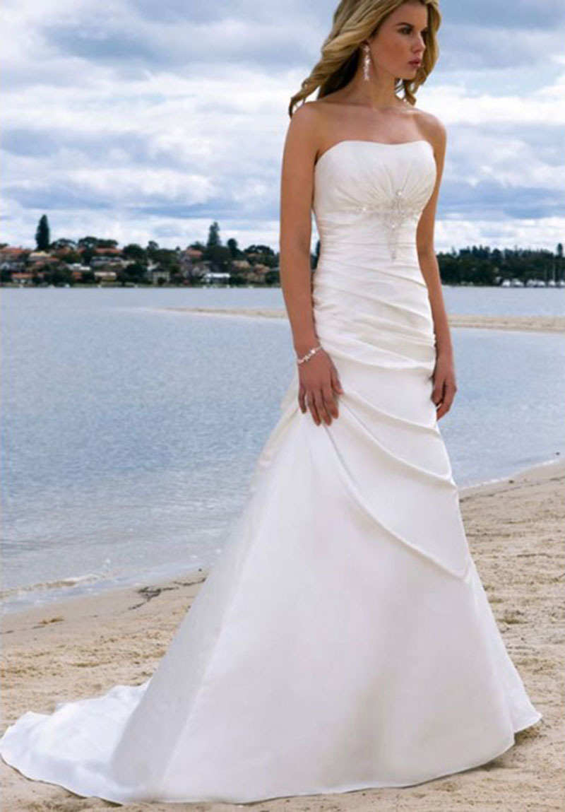 2017 Robe De Mariage Strapless Decorative Sparkly Crystal Pleat Gorgeous Satin Vestidos Long Beach Wedding Dresses Plus Size In From