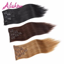 Alishow Clip In Human Hair Extensions Natural Color 8 Pieces/Set 100% Remy Hair Full Head Sets 160G Thick Hair UPS Shipping Free