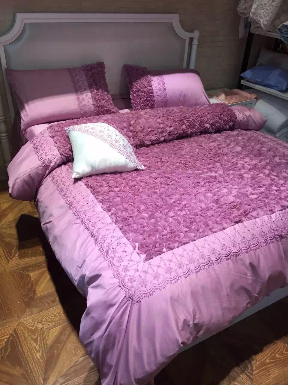 algodn romntica prpura rosas cosida bordado ropa de cama duvet cover set queen king