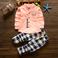 Baby clothes 2017 summer children's clothing long-sleeved shirt + pants plaid suit clothes clothes neonatal sports suit