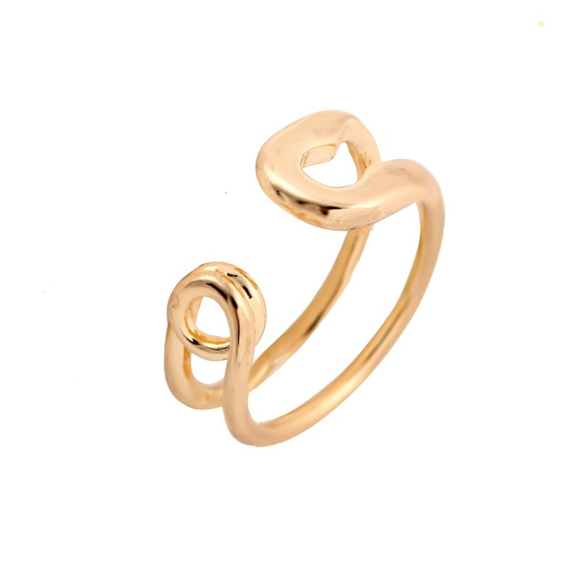 SMJEL 2017 New Fashion Jewelry Punk Big Safety Pin Bague Ring Simple Geometric Double Line Finger Rings Women Party Gifts R016