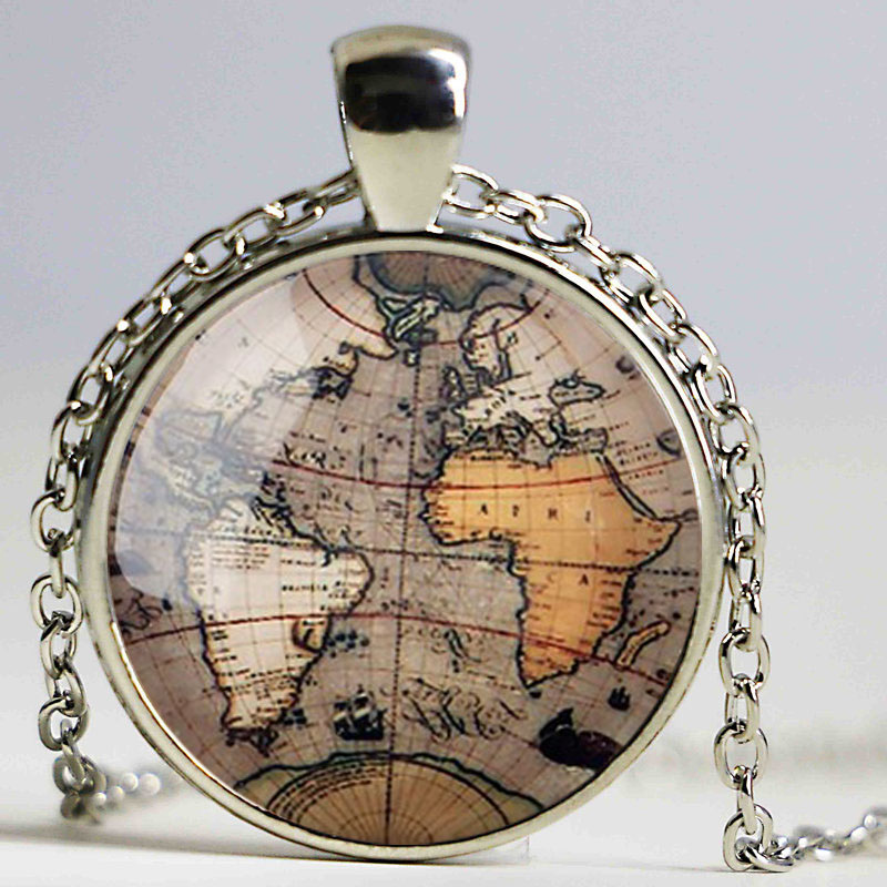 de8524442a87 25mm 1pcs Photo Glass necklace Cabochons Round Cameo Set Handmade Bases  Settings Map necklace