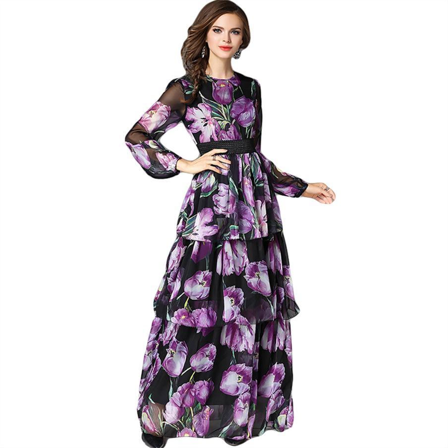 2018 Summer Maxi Dress Women Floral Print Casual Dress Runway Robe Longue Femme Cake Style Ruffles Long Sleeve Chiffon Dress