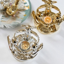 PINNY Nordic Three Angels Candlestick Gold Pated Ceramic Romantic Candle Stand Wedding Decorations Holders Light