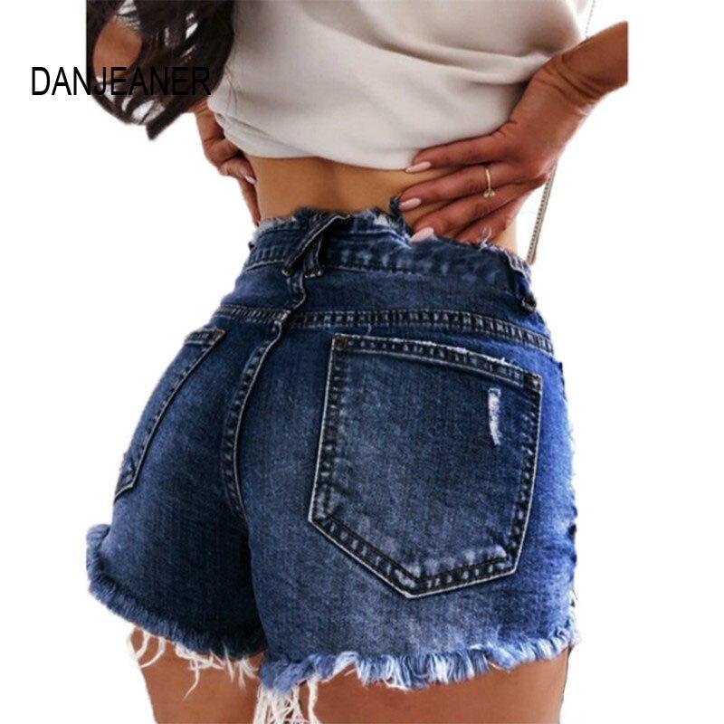 DANJEANER S-3XL 2019 Fashion Women Denim Shorts Jeans Women High Waisted Shorts New Femme Push Up Skinny Slim Denim Shorts Hot
