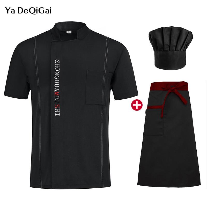 Unisex Cooking Shirt M-4XL Short Sleeved Chef Restaurant Uniform Hotel Kitchen High Quality +Hat+Apron Summer Work Clothes Men