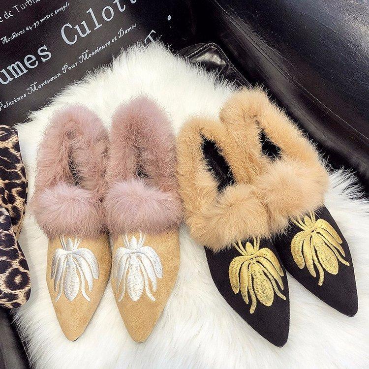 Tacón Abeja Bajo Imitación De Bordado Zapatos 2019 Black Planos Retro Piel Mujer khaki Zapatillas Punta Mocasines Moda Muller CS1fq