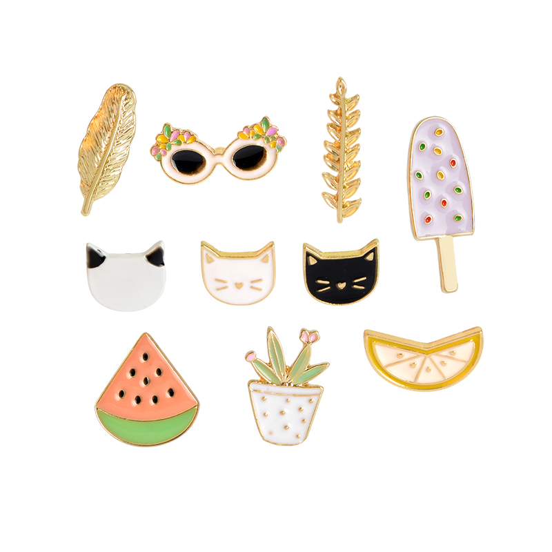 Cat Watermelon Orange Ice Cream Leaf Sunglasses Plant Brooch Button Pins Denim Jacket Pin Badge Cartoon Fashion Jewelry Gift