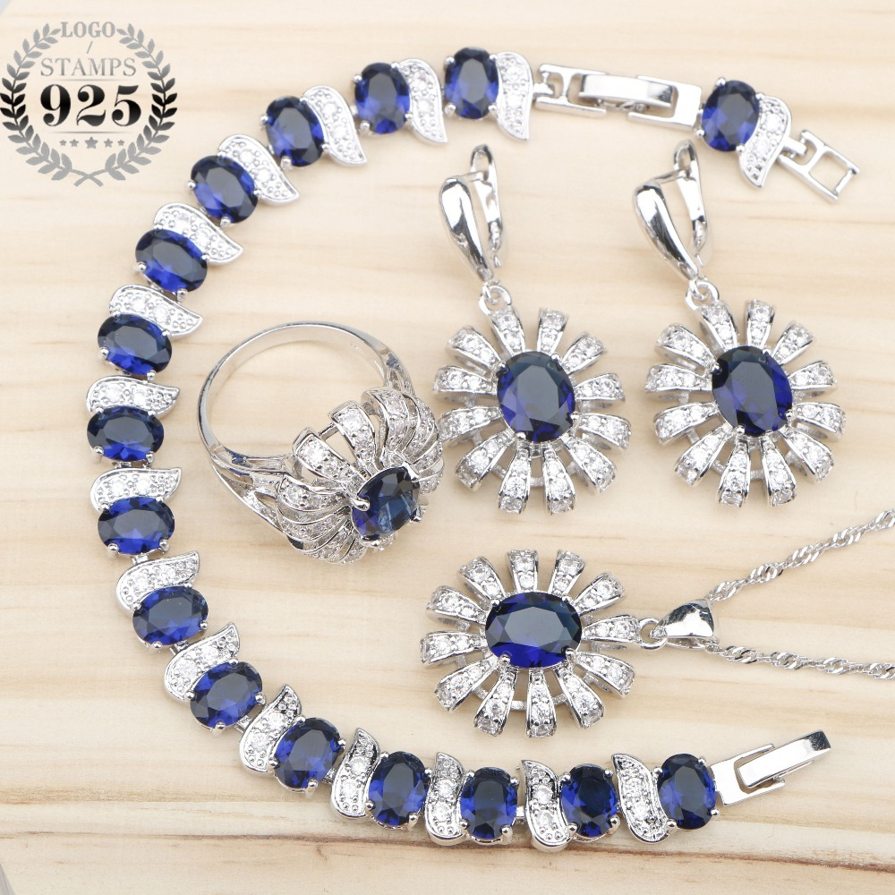 Women Silver 925 Bridal Jewelry Sets Bracelets Necklace Earrings Rings Set Jewelery With Blue Zircon White Stones Gift Box green stones white zircon women silver 925 jewelry sets earrings pendant necklace rings bracelets for bridal set free box
