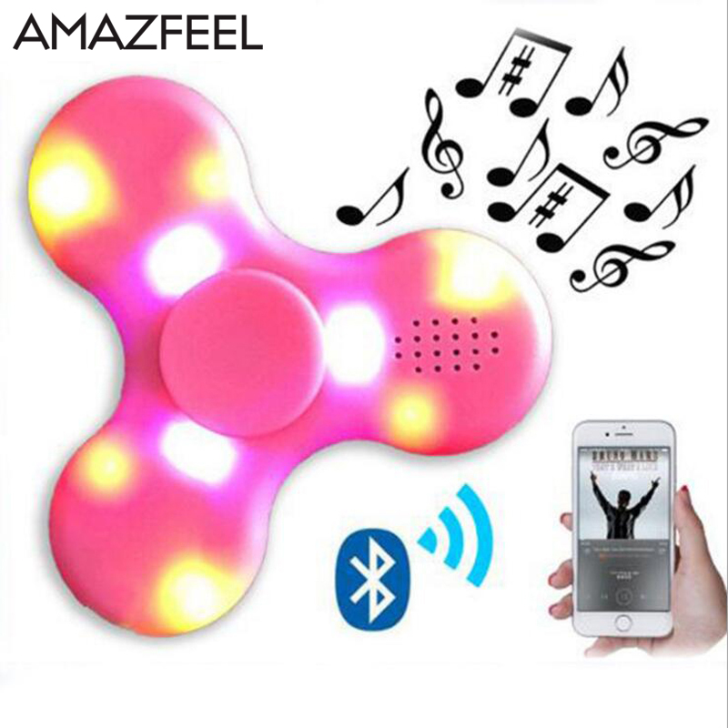 AMAZFEEL LED Bluetooth Speaker Hand toy Music Figet Spiner EDC Hand Spinner For Autism/Kids/Adult Funny Fidgets Toy Speakers