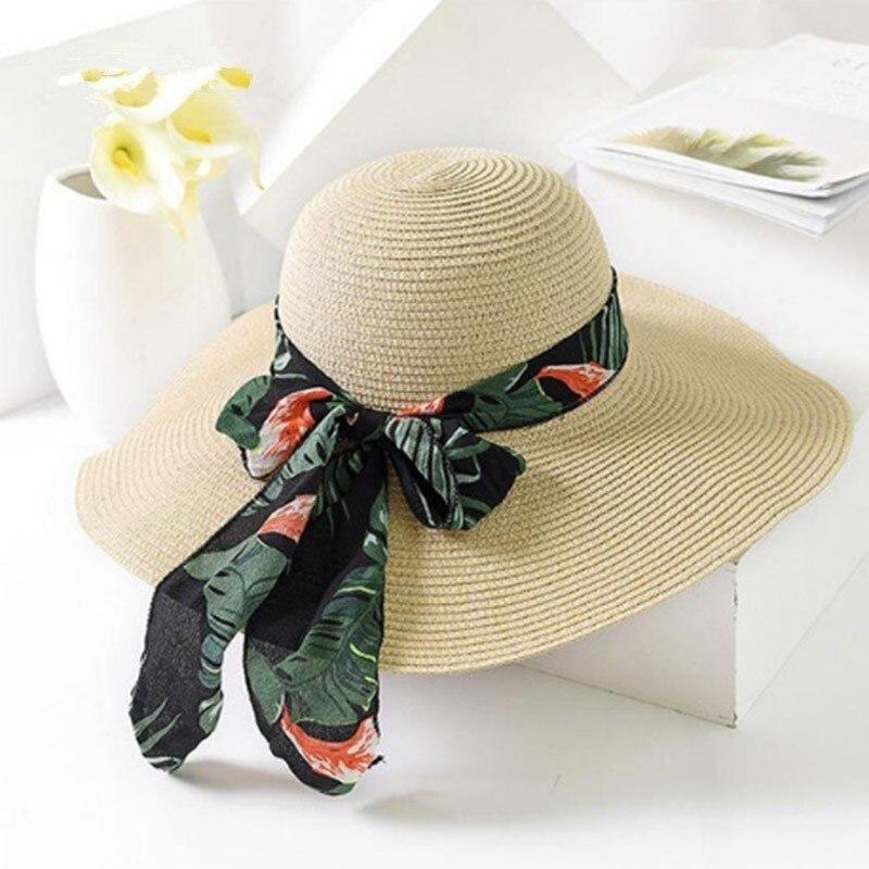 Летние соломенные шляпы с широкими полями, шляпы от солнца для женщин, Панама с защитой от ультрафиолетового излучения, пляжные шляпы, женская шляпа с бантом, женская шляпа, ete|Женские пляжные шляпы|   | АлиЭкспресс