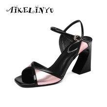 AIKELINYU Fashion Elegant Woman Sandals 2019 Women Summer Shoes Coarse High Heel Brand Luxury Womans Dress