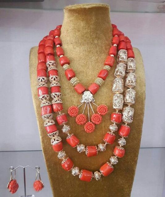 Tuyệt vời Wedding Nigeria Coral Hạt Trang Sức Set Phi áo Cưới Truyền Thống Coral Necklace Set Dubai Vàng Coral Jewelry CNR159