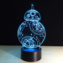 Star Wars BB-8 Robot 3D Led Night Light Colorful Acrylic USB LED Table Lamp Creative Star Wars Action Figure Lighting Toy