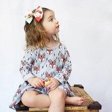Funfeliz Long Sleeve Kids Dresses for Girls Cotton Character Fox Girl Dress Spring Summer Children Clothing 1-6 Years