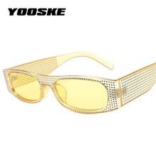 YOOSKE солнцезащитные очки с имитацией бриллиантов женские брендовые дизайнерские роскошные квадратные Стразы Солнцезащитные очки женские п...