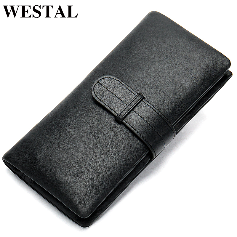 WESTAL Wallet Men's Genuine Leather Purse For Men Clutch Male Wallets Long Leather Zipper Wallet Men Business Money Bag 6018