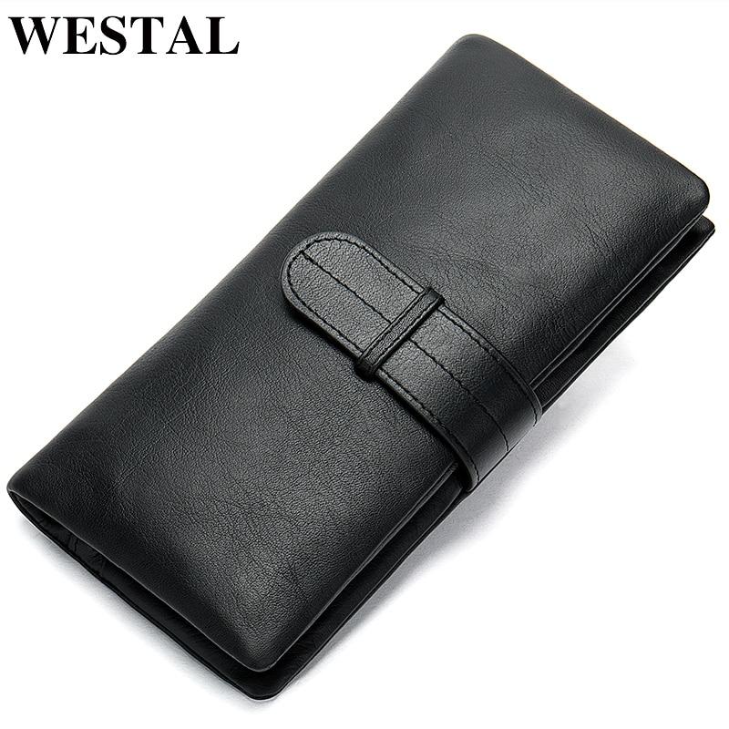 WESTAL wallet mens genuine leather purse for men clutch male wallets long Leather zipper wallet men business money bag 6018Wallets   -