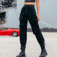 дешево!  Auyiufar с высокой талией на молнии женские брюки-карго 2019 осень уличная мода карманы брюки свобод