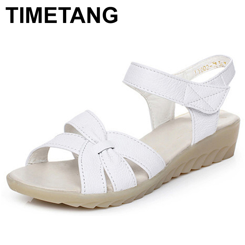 TIMETANG Plus size (32-43) flat summer sandals women mother shoes genuine leather nurse shoes flat maternity shoes women C292 beyarne white nurse shoes sandals leather wedges cow muscle outsole women summer maternity shoes sandals mother shoes size 33 41
