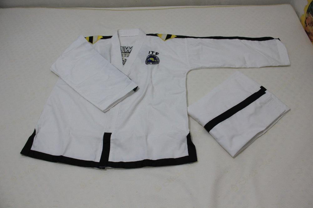 ITF full embroidery Taekwondo clothing standard plain 1-3 dan assistant instructor doboks 4-6 dan Instructor uniforms wholesale