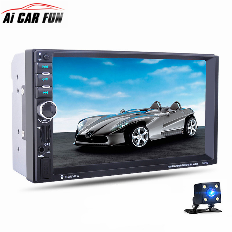 7 Touch Screen 7021G Car Bluetooth MP5 Player GPS Navigation Support TF USB AUX FM Radio Rearview Camera Steering Wheel Control hot 7020g car bluetooth audio stereo mp5 player with rearview camera 7 inch touch screen gps navigation fm function with camera