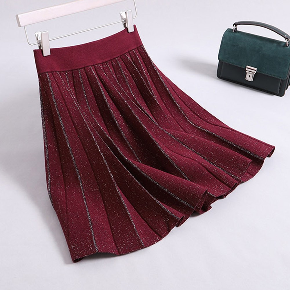 Gtgyff Faldas Rojo Plisado Invierno Caliente Saia Negro borgoña Mujeres Falda Térmica Mini Otoño Marrón Saias Para Negro Las Vino 6qpA6r