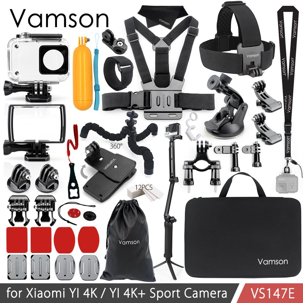 Vamson for Xiao YI 4K Accessories Kit Set 3-Way Monopod Head Cheat Strap Bag Adapter Mount for YI 4K + for YI Lite Camera VS147 ...
