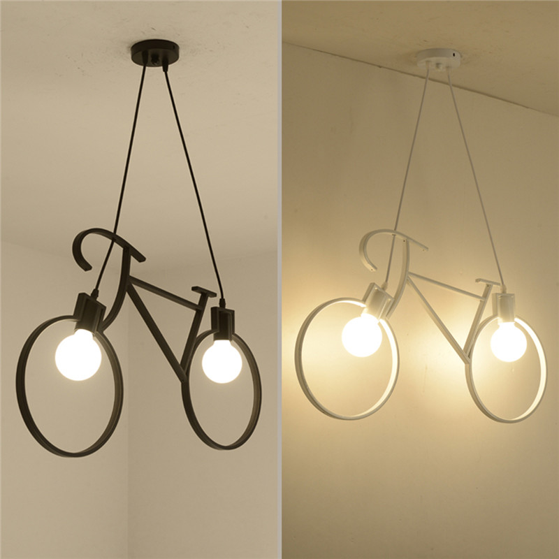 US $37.58 28% OFF|Iron Craft Bicycle Chandelier Kitchen Loft Bedroom  Ceiling Light Home Creatives Lighting Accessories With 2 Bulbs Supply 2  Size-in ...