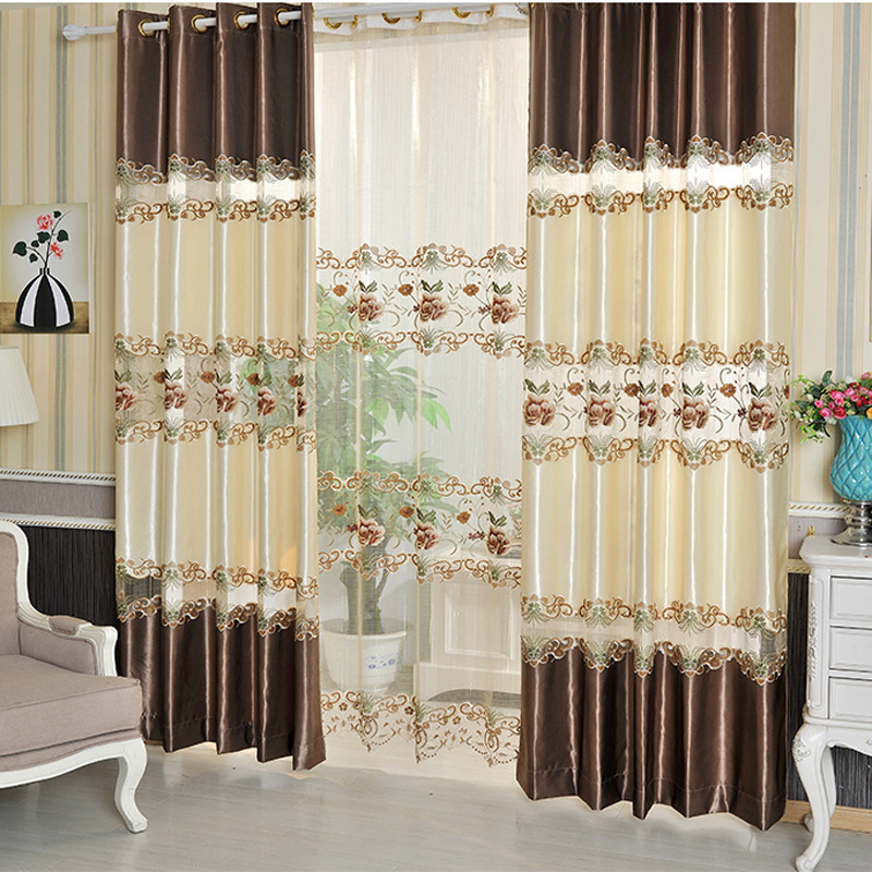 Flower Embroidered Chinese Luxury Design Curtains Fabric Drapes Window Sheer Curtains For Living Room Bedroom Kitchen In Curtains From Home