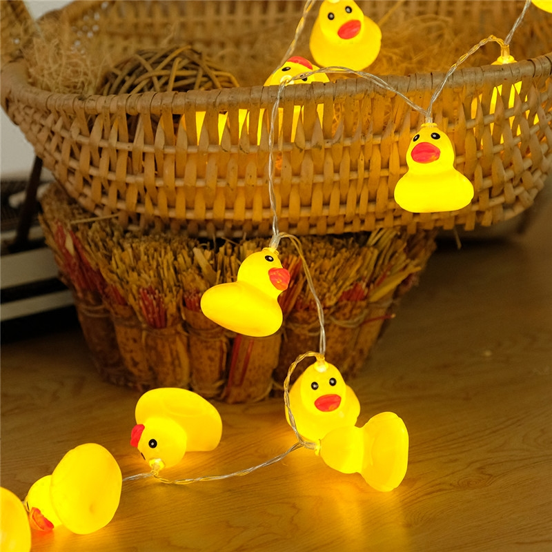 Baby Shower Party Decoration 6cm Fairy Yellow Duck Led String Lights Animal Home Decor for kids