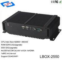 Новые на борту Intel Atom D2550 Процессор Промышленные ПК с XP/Win7/Win8/Win10/Linux Операционная система Поддержка wi Fi/3g/4G/LTE Mini PC
