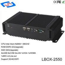 Mais novo D2550 Onboard Intel Atom CPU PC Industrial Com XP/Win7/Win8/Win10/Sistema Operacional Linux suporte Wi fi/3G/4G/LTE Mini PC
