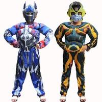 New Movie Superhero Optimus Prime Bumblebee Muscle Cosplay Costume Children Full Body Suits Kids Carnival Halloween