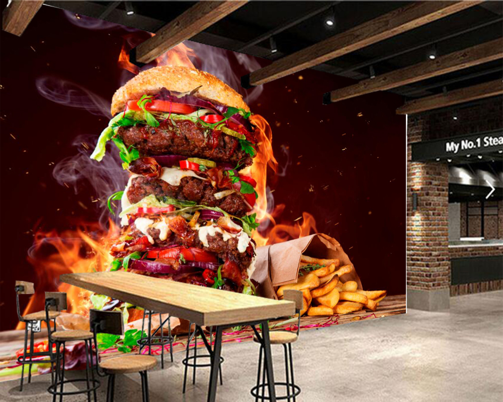Papel de pared Fast food Hamburger French fries chips wallpaper ,living room kitchen restaurant fast food shop paper home decor