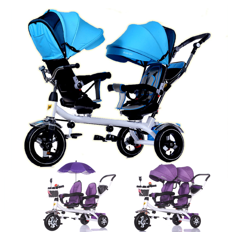 Anti UV Sunshade Twins Baby Stroller Double Tricycle Trolley Rotating Swivel Seat Prams Two Baby Carriage Double Baby Stroller bello outdoor double twins stroller foldable light baby carriage prams buggy with rain cover