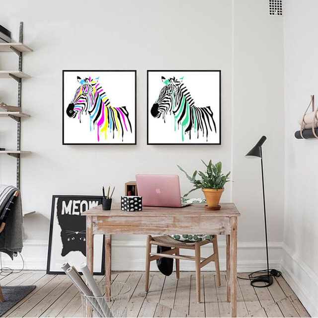 Moderne Leinwand Malerei Dekorative Wohnzimmer Restaurant Bett Zimmer  Wandmalereien Von Bunten Pferd Sofa Hintergrund Malerei
