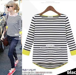 2013 new fashion brand black and white striped t shirt three ...