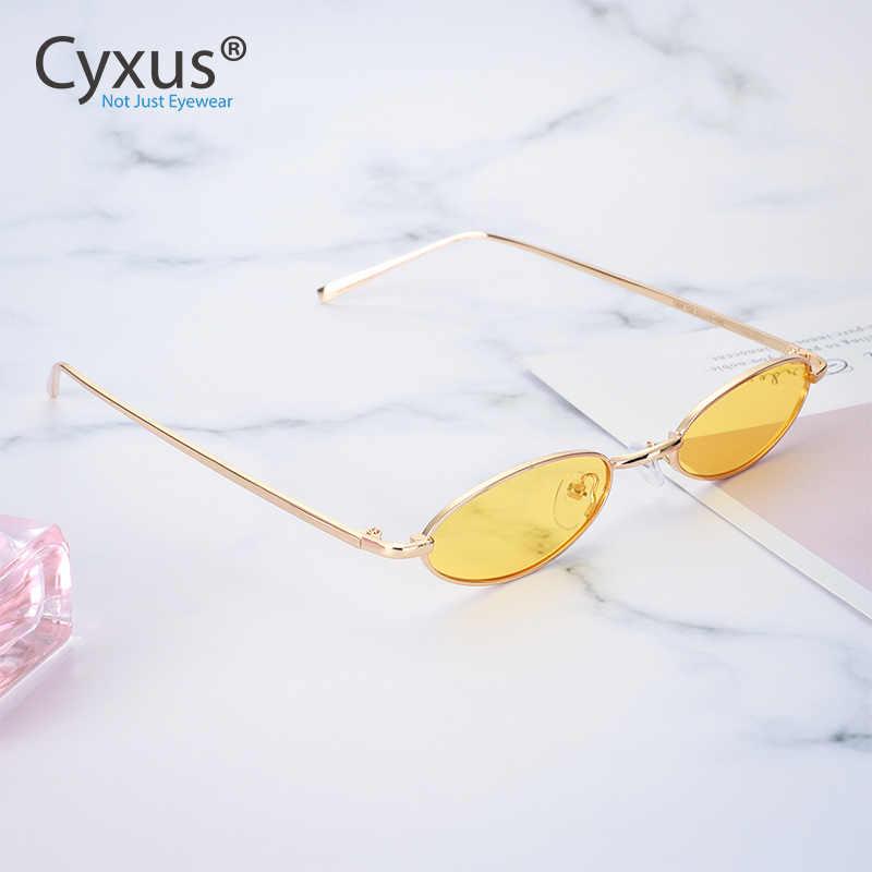 Cyxus Retro Vintage smukłe owalne okulary przeciwsłoneczne dla kobiet męskie małe metalowe ramki soczewki polaryzacyjne cukierkowe kolory 1999