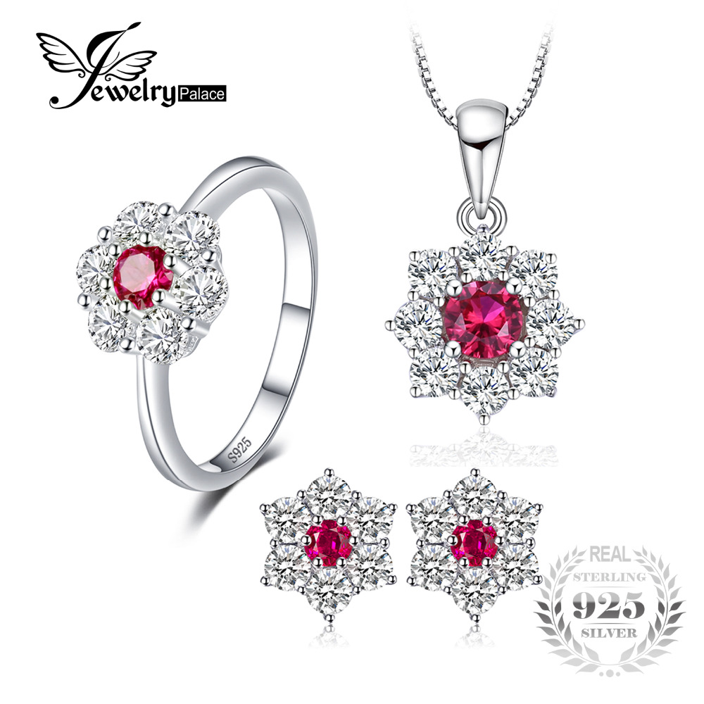 JewelryPalace Flower 3.1ct Created Ruby Halo Ring Stud Earrings Pendant Necklace Jewelry Sets 925 Sterling Silver 45cm Box Chain jewelrypalace 2 55ct natural lemon quartz halo ring stud earrings pendant neckalce chain 45cm 925 sterling silver jewelry sets