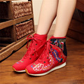 Shoes Woman 2017 Fashion Chinese Style Casual Flats For Women Flower Embroidered Mary Janes Shoes Red Black Green Size 34-40