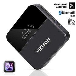 Allumage automatique, émetteur et récepteur Bluetooth 5.0 aptX HD/LL 3.5mm Jack/SPDIF/RCA mains libres adaptateur Audio sans fil pour voiture TV PC