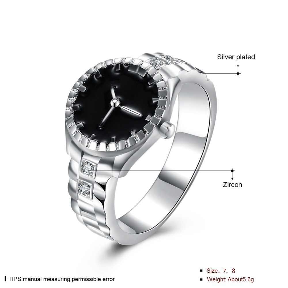 חג מולד מתנה עבור נשים ילדה שעון סגנון טבעת יפה מסיבת חתונת כסף צבע טבעת חמוד נובל אופנה קלאסי תכשיטי R887